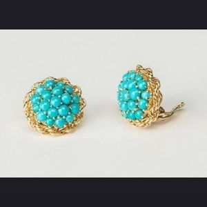 18k gold plated turquoise stud earrings